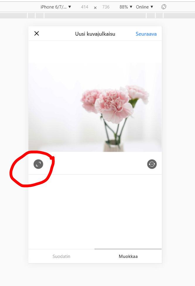 Instagram-kuvan mittasuhteiden vaihto.